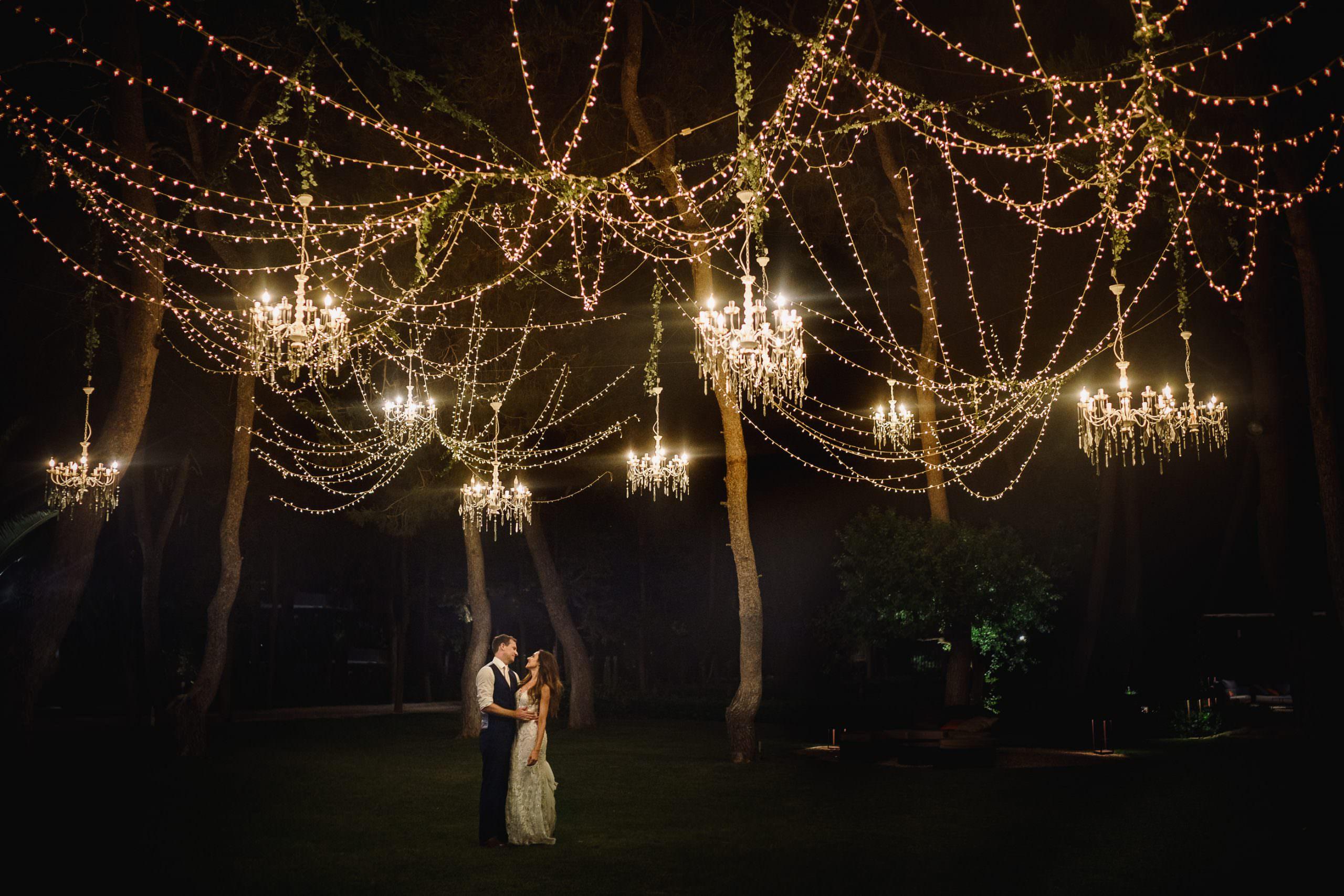Castello Monaci Wedding Photography chandeliers